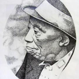 Bonie Bolen Artwork Mississippi John Hurt, 1999 Pen Drawing, Music