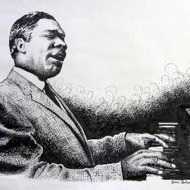Bonie Bolen Artwork Otis Span, 2005 Pen Drawing, Music