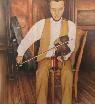 Bonie Bolen: 'Rye Whiskey, Rye Whiskey', 2015 Oil Painting, Family. Artist Description:  Painting from a photo of my Dad playing fiddle sometime in the 70's. I wanted the wood grain of the oak plywood to come through, so I painted it in thin washes of oil and mineral spirits. The original photo cuts off his head and feet. I ...