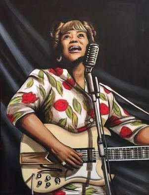 Bonie Bolen: 'Sister Rosetta Tharpe', 2016 Acrylic Painting, Music.  Sister Rosetta Tharpe Blues music Gospel music.Original not for sale but prints are available upon request. ...