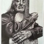 Willie Nelson and Trigger, small print  By Bonie Bolen