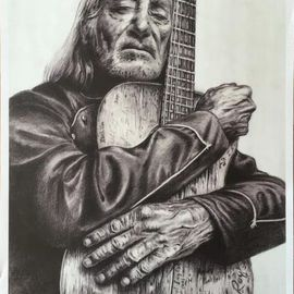 Bonie Bolen Artwork Willie Nelson and Trigger, small print , 2016 Pencil Drawing, Music