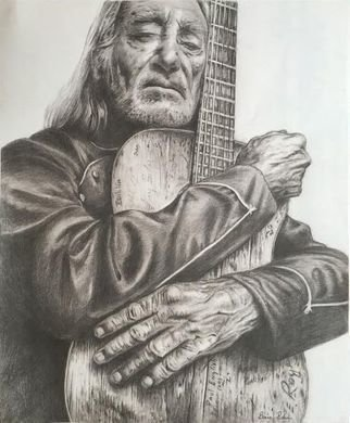 Bonie Bolen Artwork Willie Nelson and Trigger , large print, 2016 Pencil Drawing, Music