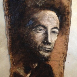 Bonie Bolen: 'Woody Guthrie', 1999 Other Painting, Music. Artist Description:   Painting of Woody Guthrie. Painted in oil and tar on burlap rice bag on found wood.       ...