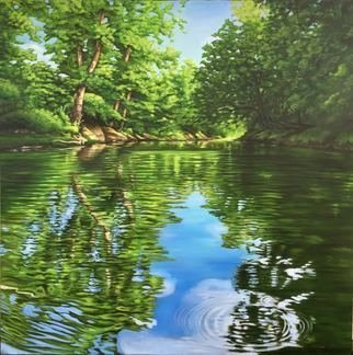 Bonie Bolen: 'peace', 2017 Other, nature. Oil painting of scene kayaking in the Wayne National Forest, OH...