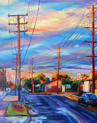 Artist: Bonnie Lambert - Title: Up the Street - Medium: Oil Painting - Year: 2015