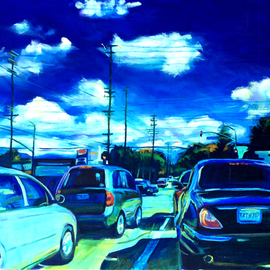 Bonnie Lambert: 'a good day', 2016 Oil Painting, Cityscape. Artist Description: cars, sky, afternoon, traffic, neighborhood, blue, clouds, rush, cityscape, urbanscape, ...