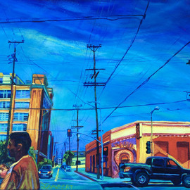 Bonnie Lambert: 'change', 2015 Oil Painting, Cityscape. Artist Description: The Arts District, downtown Los Angeles, before blocks are cleared and condos rise. ...