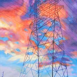 Bonnie Lambert: 'colossus', 2013 Oil Painting, Cityscape. Artist Description: A huge transmission tower stretches into the glowing sunset...