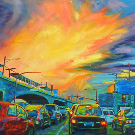 Bonnie Lambert: 'elevated', 2015 Oil Painting, Cityscape. Artist Description: La Cienega Avenue meets the elevated in Culver City, California at rush hour...