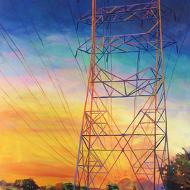 Bonnie Lambert: 'fire power', 2016 Oil Painting, Cityscape. Artist Description: sunset, twilight, power tower, lines, neighborhood, park, urbanscape, cityscape, California, trees, homes, houses, street, distance...