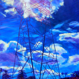 Bonnie Lambert: 'flash', 2016 Oil Painting, Cityscape. Artist Description: noon, bright, blue, day, urbanscape, cityscape, power, tower, transmission tower, lines, phone, orange, bright, neighborhood, town...