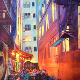 Bonnie Lambert: 'heart of the city', 2017 Oil Painting, Cityscape. Artist Description: Family and friends celebrate at a cozy alley bistro...