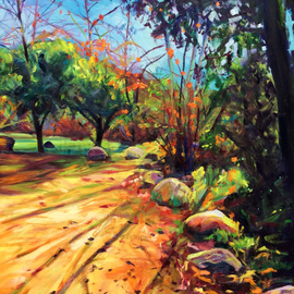 Bonnie Lambert: 'joyous light', 2017 Oil Painting, Cityscape. Artist Description: Glorious early- afternoon sun in the Arroyo Park, Pasadena, California...