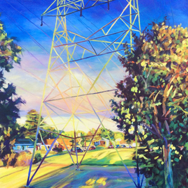 Bonnie Lambert: 'the interloper', 2016 Oil Painting, Cityscape. Artist Description: A transmission tower reflects the late afternoon glow...