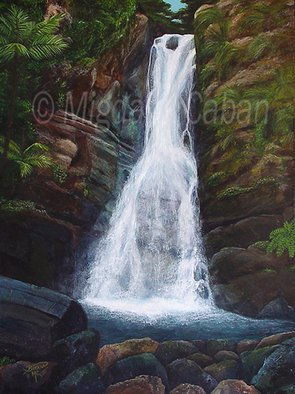 Landscape Acrylic Painting by Migdalia Caban Title: Tainos  Whispers from La Mina Falls, created in 2005