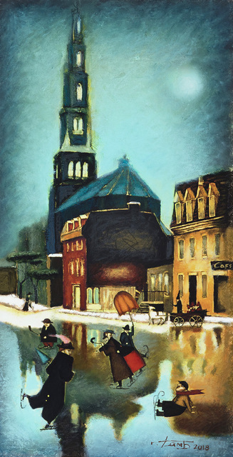 Steven Lamb  'Sold Winter In Montreal', created in 2018, Original Mixed Media.
