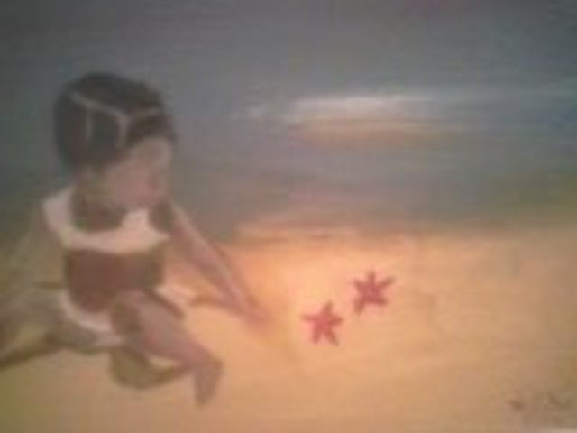 Herve Bottex  'Girl At Beach ', created in 2004, Original Painting Oil.