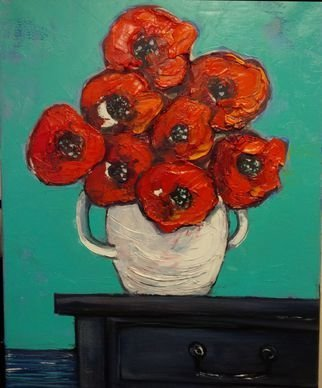 Boyko Asparuhov Artwork Poppies, 2015 Oil Painting, Floral