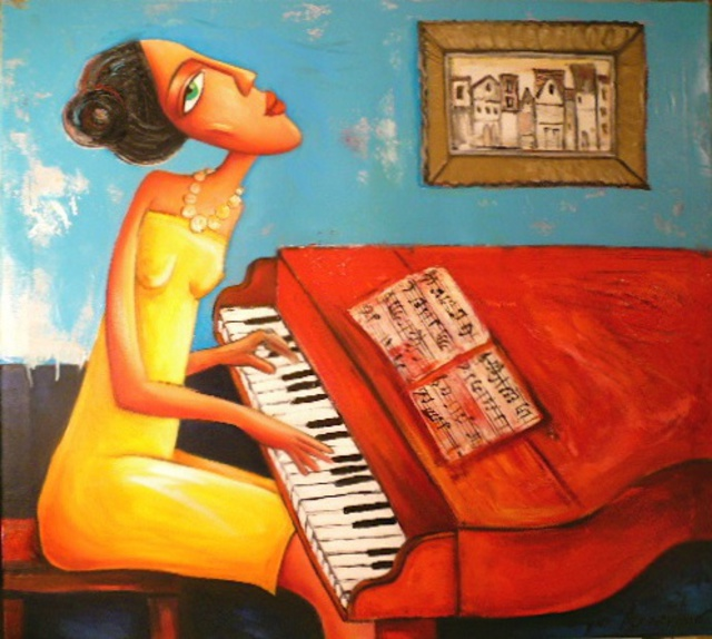 Artist Boyko Asparuhov. 'The Piano' Artwork Image, Created in 2010, Original Painting Oil. #art #artist