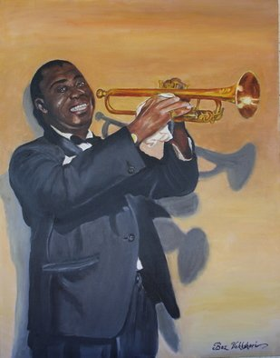 Boz Vakhshori: 'Louis Armstrong', 2009 Oil Painting, People.  Portrait of Louis Armstrong. ...