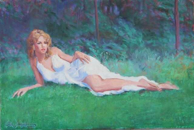 Boz Vakhshori: Resting  beauty, 2005 Oil Painting