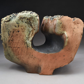 Robert Pulley: 'Conic Oculus', 2019 Clay Sculpture, Abstract. Artist Description: The term oculus refers to the conical piercing of this simple form that frames a view.  This could be installed outdoors on a patio or in a garden.  A hole in the bottom can anchor it to a stone or steel plate for stability.  Hardware available on request. ...
