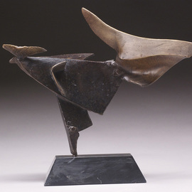 Robert Pulley Artwork Dancer And Bird, 2008 Bronze Sculpture, Abstract