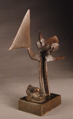 Robert Pulley: 'Marker', 2009 Bronze Sculpture, Abstract.       Unique bronze sculpture with a rich dark  brown patina.  ...