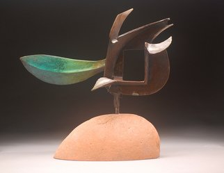 Robert Pulley: 'Portal', 2012 Ceramic Sculpture, Abstract. Artist Description:     Abstract, bronze, sandstone, salmon, teal, burnt umber. ...
