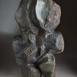 Robert Pulley: 'composition in black', 2019 Clay Sculpture, Abstract. Artist Description: This robust human scale abstract sculpture possesses mystery and strength.  It looks great in a garden setting as well as in doors. ...