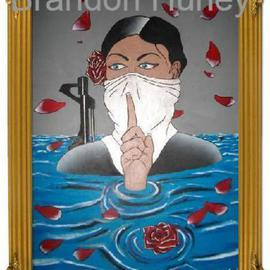 Brandon Hurley: 'Sacred Beauty', 2009 Acrylic Painting, War. Artist Description:  A woman is comming out of the water telling you to be quiet, while a plane ( in background) drops a bomb of roses on her. ...