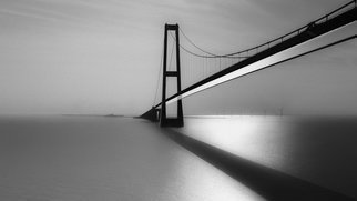 Erik Brede: 'Great Belt Fixed Link', 2016 Black and White Photograph, Seascape. Artist Description: The Great Belt Fixed Link runs between the Danish islands of Zealand and Funen. It consists of five structures a road suspension bridge and a railway tunnel between Zealand and the small island SprogA, located in the middle of the Great Belt, and a box girder bridge for ...