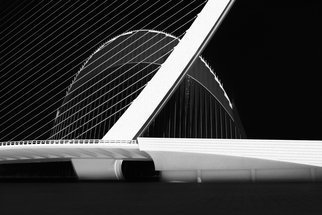 Erik Brede: 'city of arts and sciences', 2016 Black and White Photograph, Architecture. Artist Description: LaEURtmAEURgora l Agora The Agora is a multifunctional covered space designed by Santiago Calatrava located in the Ciutat de les Arts i les CiA