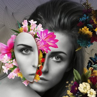 Erik Brede: 'flower power', 2018 Color Photograph, Conceptual. Artist Description: Manipulated and abstract view of female portrait. 60x60cm Printed on HahnemA1/4hle FineArt Baryta, Glossy, 325gsm archival, museum grade paper with Epson Inkjet 11880 and 9 color K3 pigment inks, that ensure even the smallest details are visible and the colors appear freshly printed, even after 100 years. ...