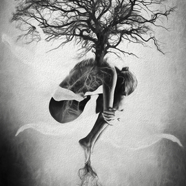 Erik Brede: 'tree of life', 2013 Black and White Photograph, Conceptual. Artist Description: Surreal and abstract photo manipulation. Mother Nature connecting the tree of life to the earth.100x150cm Direct Print on Brushed Aluminium aEUR