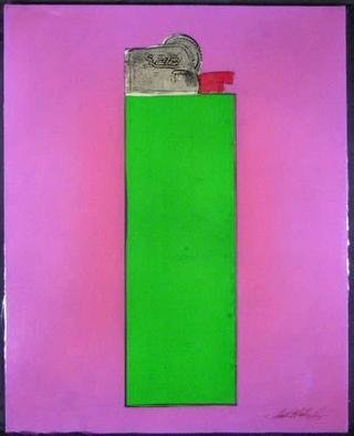 Collage by Ralph Michael Brekan titled: Bic Lighter green, created in 2005