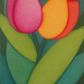Brenda Szuromi: 'tulips ii', 2017 Acrylic Painting, Floral. Artist Description: Two beautiful tulips painted in a semi abstract style. This has been painted on canvas board  13 x 18 x 0. 4 cm . ...