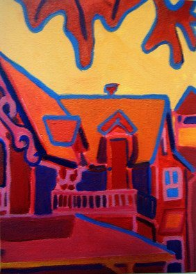 Artist: Debra Bretton Robinson - Title: Oak Bluffs in Red - Medium: Acrylic Painting - Year: 2010