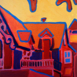 Debra Bretton Robinson Artwork Oak Bluffs in Red, 2010 Acrylic Painting, Architecture