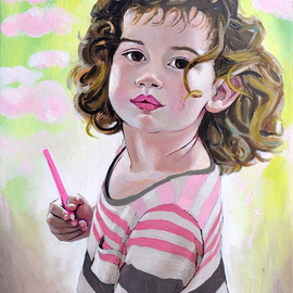 Brikena Berdo: 'Amber', 2018 Oil Painting, Portrait. Artist Description: Portrait in oil of my 3 years old niece, Amber. ...
