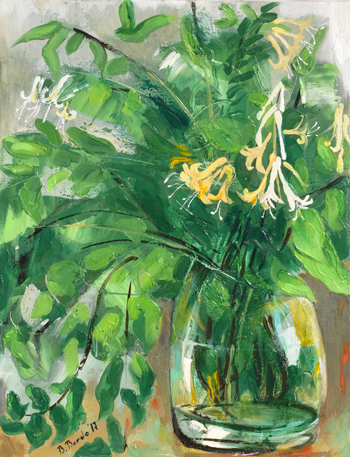 Brikena Berdo  'Honeysuckle', created in 2017, Original Painting Oil.