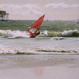 Roderick Briggs: 'Winter Gale with Windsurfer', 2004 Oil Painting, Seascape. Artist Description: The painting depicts what occurs during a wintry gale on a southern California beach.  Strong winds bring windsurfers to the beach to practice their skills on the choppy waters and surf that characterize such weather conditions. ...
