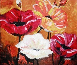 Socobean Cristina: 'Poppies', 2010 Tempera Painting, Floral.     tempera on cardboard   ...