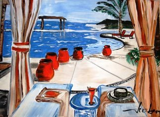 Socobean Cristina: 'Relax', 2011 Tempera Painting, Beach. Artist Description:     tempera on canvas               ...