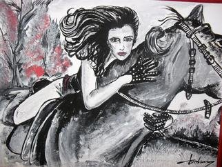 Socobean Cristina: 'Riding with me', 2011 Tempera Painting, Beauty.          tempera on cardboard        ...