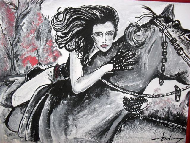 Socobean Cristina  'Riding With Me', created in 2011, Original Drawing Pen.