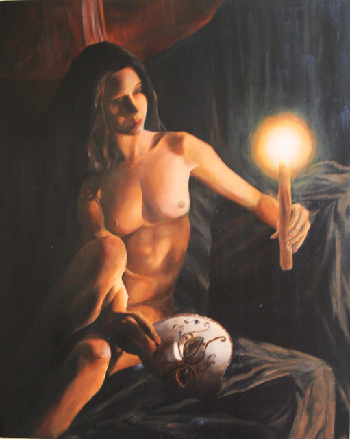 Brett Roeller  'Candle And Mask', created in 2009, Original Painting Oil.
