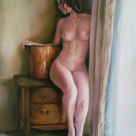 Brett Roeller: 'waiting', 2011 Oil Painting, Nudes. Artist Description: Oil on Canvas, Gallery Wrapped, 18- 22  Amber Varnished...