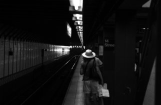 Bruce Panock: 'Subway Girl', 2008 Black and White Photograph, Urban. Artist Description:  A view of 14th Street  ...